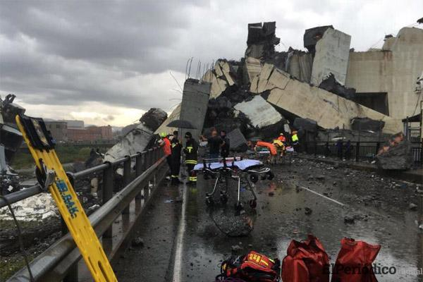 Un trágico incidente en la ciudad de Génova, Italia, donde se derrumbó un tramo del puente Morandi. se presume falla estructural.