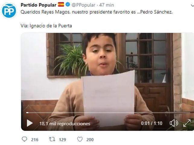 El PP difunde un vídeo supuestamente humorístico en el que un niño desea la muerte de Pedro Sánchez