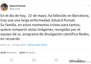 Muere Eduard Punset a la edad de 82 años