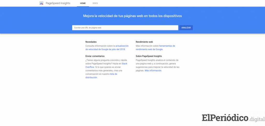 Interfaz de la página Page Speed Insights de Google