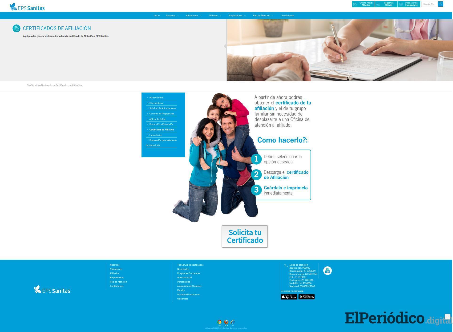Cómo solicitar certificado de afiliación EPS Sanitas ONLINE 1