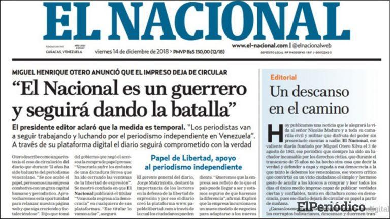 La revolución venezolana ha embargado el diario El Nacional